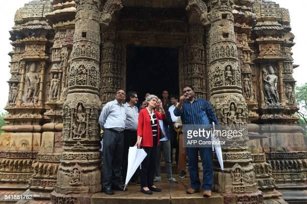 Director General of UNESCO Irina Bokova interacts with Senior Archaeologist of the Archaeological Survey of India Anil Tiwari during her visit at the...