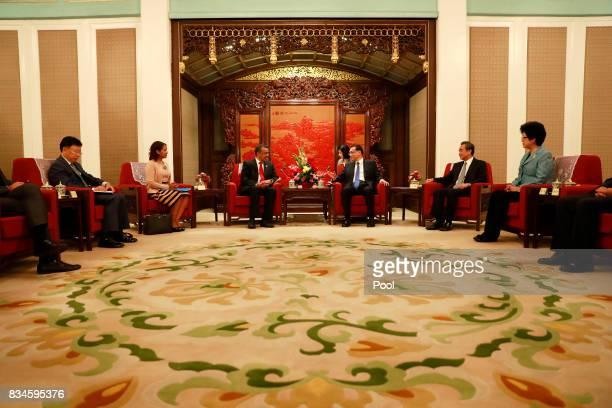 Director general of World Health Organisation Tedros Adhanom Ghebreyesus and Chinese Premier Li Keqiang meet during at Zhongnanhai Leadership...