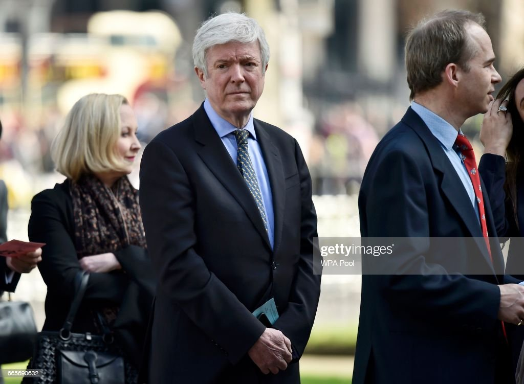 Director General, Tony Hall arrives for a Service of Thanksgiving for the life and work of Lord Snowdon at Westminster Abbey on April 7, 2017 in London, United Kingdom.
