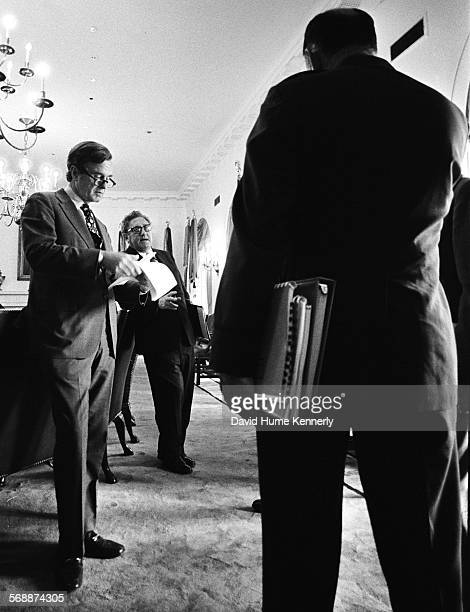 Director George Bush Secretary of State Henry Kissinger and Chairman of the Joint Chiefs of Staff George Brown in the Cabinet Room discussing the...