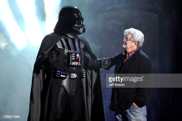 Director George Lucas and Darth Vader onstage during Spike TV's 'Scream 2011' at Universal Studios on October 15 2011 in Universal City California
