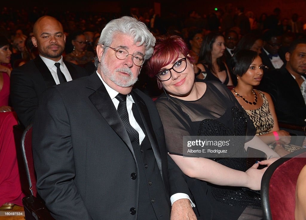 Director George Lucas (L) and daughter Amanda Lucas attend the 44th NAACP Image Awards at The Shrine Auditorium on February 1, 2013 in Los Angeles, California.
