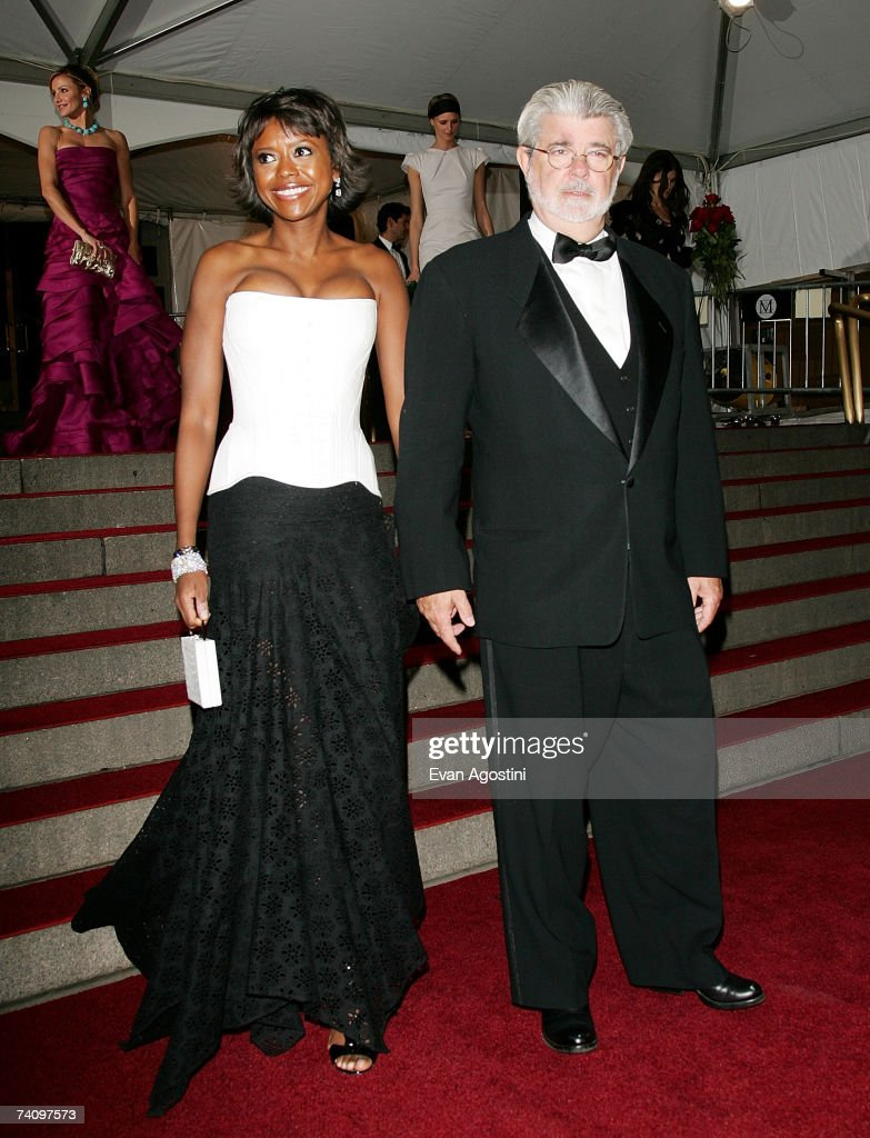 Director George Lucas and girlfriend Meloday Hobson leaving The Metropolitan Museum of Art's Costume Institute Gala May 07, 2007 in New York City.