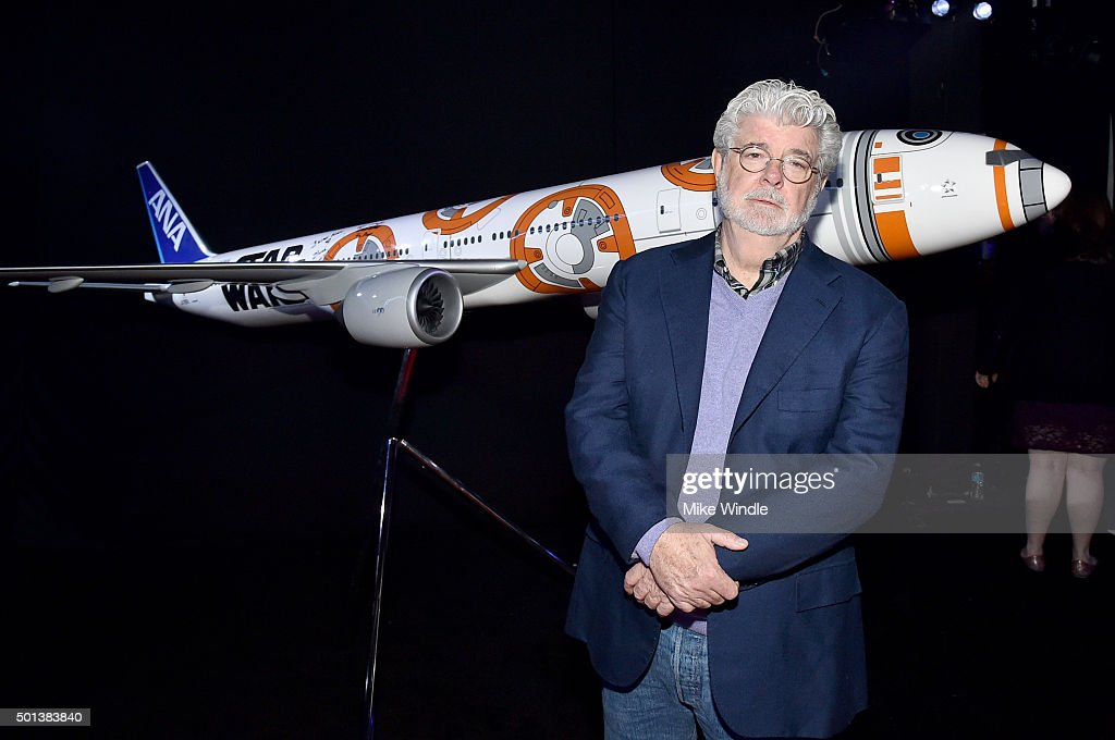 "Director George Lucas attends the World Premiere of ""Star Wars: The Force Awakens"" at the Dolby, El Capitan, and TCL Theatres on December 14, 2015 in Hollywood, California."