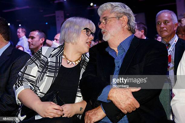 Director George Lucas right sits in the audience before the Disney Legends Awards during the D23 Expo 2015 in Anaheim California US on Friday Aug 14...