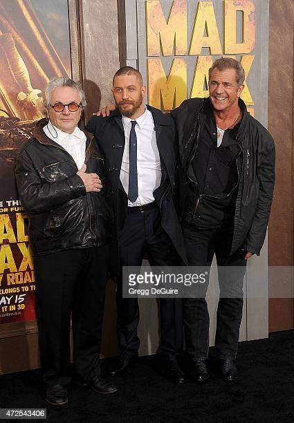 Director George Miller actors Tom Hardy and Mel Gibson arrive at the Los Angeles premiere of 'Mad Max Fury Road' at TCL Chinese Theatre IMAX on May 7...