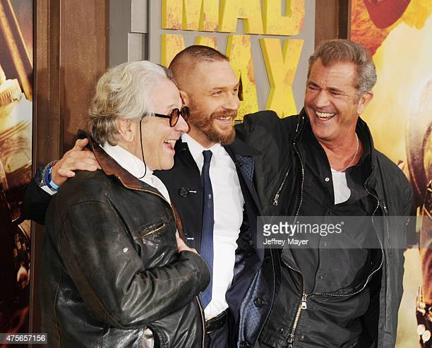 Director George Miller actors Tom Hardy and Mel Gibson arrive at the 'Mad Max Fury Road' Los Angeles Premiere at TCL Chinese Theatre IMAX on May 7...