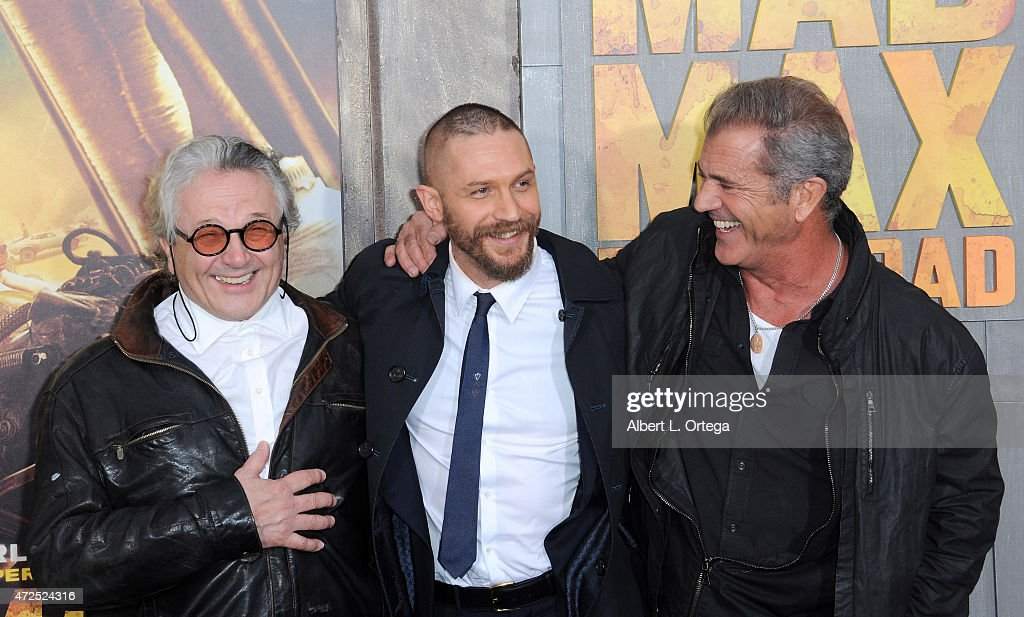 Director George Miller, actors Tom Hardy and Mel Gibson arrive for the premiere of Warner Bros. Pictures' 'Mad Max: Fury Road' held at TCL Chinese Theatre on May 7, 2015 in Hollywood, California.