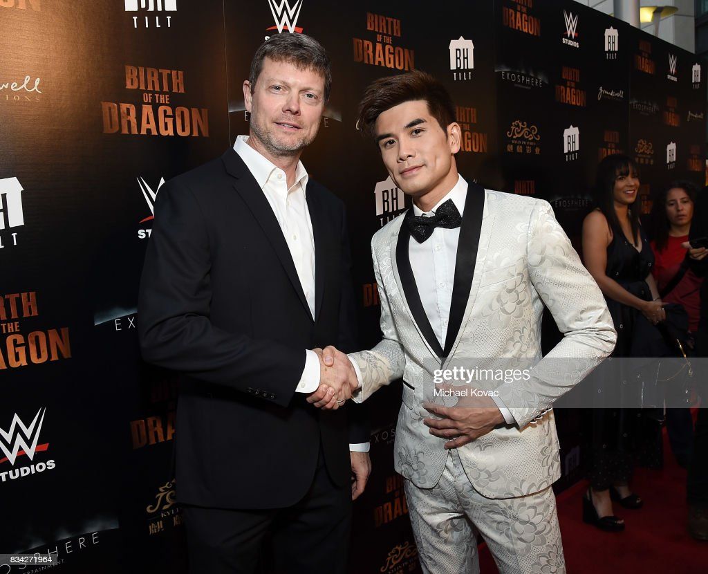 Director George Nolfi (L) and actor Philip Ng attend the Los Angeles special screening of Birth of the Dragon at ArcLight Cinemas on August 17, 2017 in Hollywood, California.