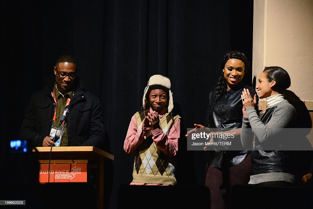 Director George Tillman Jr., actors Skylan Brooks and <a gi-track='captionPersonalityLinkClicked' href=/galleries/search?phrase=Jennifer+Hudson&family=editorial&specificpeople=234833 ng-click='$event.stopPropagation()'>Jennifer Hudson</a> and a surprise appearance by singer <a gi-track='captionPersonalityLinkClicked' href=/galleries/search?phrase=Alicia+Keys&family=editorial&specificpeople=169877 ng-click='$event.stopPropagation()'>Alicia Keys</a> onstage during the 'The Inevitable Defeat Of Mister And Pete' premiere during the 2013 Sundance Film Festival at Library Center Theater on January 17, 2013 in Park City, Utah.
