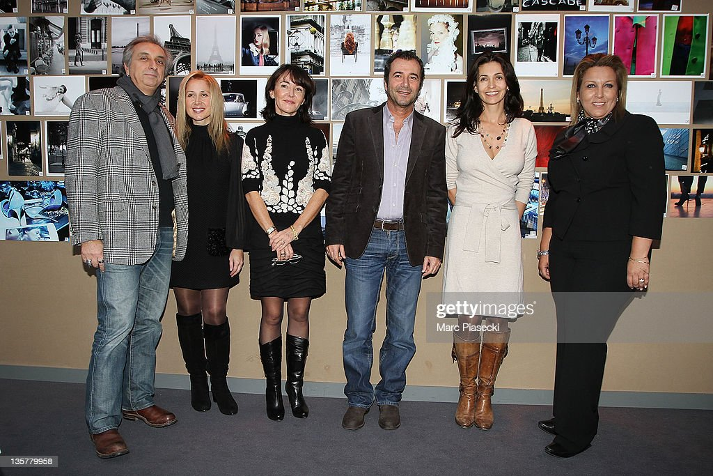 TV director Gerard Pulliccino, Singer <a gi-track='captionPersonalityLinkClicked' href=/galleries/search?phrase=Lara+Fabian&family=editorial&specificpeople=228901 ng-click='$event.stopPropagation()'>Lara Fabian</a>, Anne Jousse, <a gi-track='captionPersonalityLinkClicked' href=/galleries/search?phrase=Bernard+Montiel&family=editorial&specificpeople=221485 ng-click='$event.stopPropagation()'>Bernard Montiel</a>, actress Adeline Blondieau and Jennifer Boccara attend the first 'Hotel de Sers' photo Award at Hotel de Sers on December 14, 2011 in Paris, France.