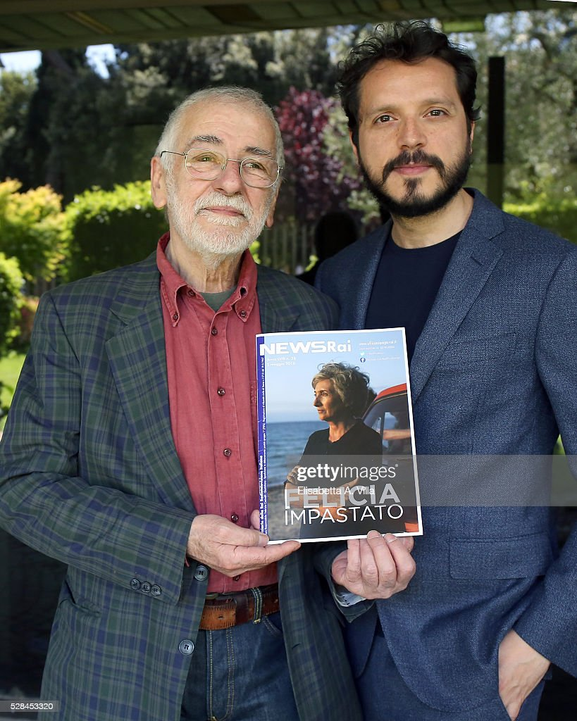 Director Gianfranco Albano (L) and actor Carmelo Galati attend a photocall for 'Felicia Impastato' RAI TV movie at Viale Mazzini on May 5, 2016 in Rome, Italy.