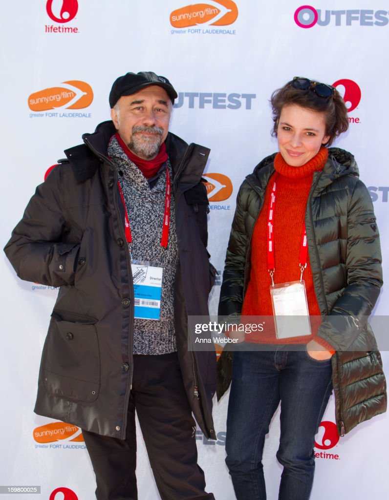 Director Giorgio Diritti and Actress <a gi-track='captionPersonalityLinkClicked' href=/galleries/search?phrase=Jasmine+Trinca&family=editorial&specificpeople=622594 ng-click='$event.stopPropagation()'>Jasmine Trinca</a> arrive to Outfest Queer Brunch - 2013 Park City on January 20, 2013 in Park City, Utah.
