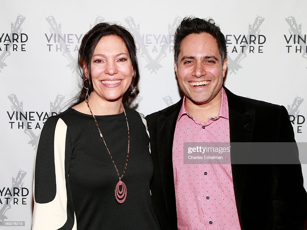 Director Giovanna Sardelli and playwright Rajiv Joseph attend the off Broadway opening night of 'The North Pool' at Vineyard Theatre on March 6, 2013 in New York City.