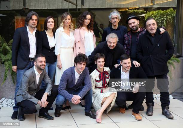 Director Giovanni Veronesi poses with cast during a photocall for 'Non e' Un Paese Per Giovani' at Hotel Visconti Palace on March 16 2017 in Rome...