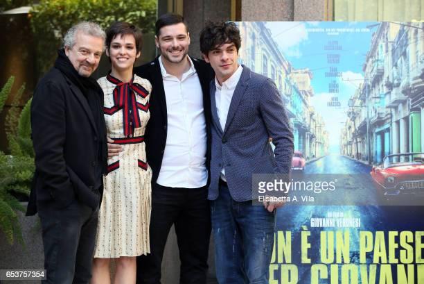 Director Giovanni Veronesi Sara Serraiocco FIlippo Scicchitano and Giovanni Anzaldo attends a photocall for 'Non e' Un Paese Per Giovani' at Hotel...