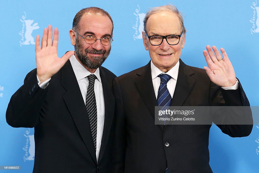 Director <a gi-track='captionPersonalityLinkClicked' href=/galleries/search?phrase=Giuseppe+Tornatore&family=editorial&specificpeople=2761023 ng-click='$event.stopPropagation()'>Giuseppe Tornatore</a> and composer <a gi-track='captionPersonalityLinkClicked' href=/galleries/search?phrase=Ennio+Morricone&family=editorial&specificpeople=677347 ng-click='$event.stopPropagation()'>Ennio Morricone</a> attend the 'The Best Offer' Photocall during the 63rd Berlinale International Film Festival at the Grand Hyatt Hotel on February 12, 2013 in Berlin, Germany.