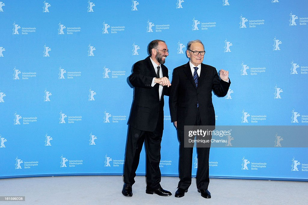 Director Giuseppe Tornatore and composer Ennio Morricone attend the 'The Best Offer' Photocall during the 63rd Berlinale International Film Festival at the Grand Hyatt Hotel on February 12, 2013 in Berlin, Germany.