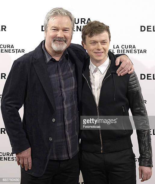 Director Gore Verbinski and actor Dane DeHaan attend a photocall for 'A Cure for Wellness' at The Palace Hotel on January 26 2017 in Madrid Spain
