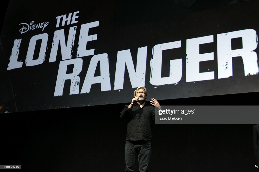 Director Gore Verbinski speaks at The Walt Disney Studios Motion Pictures presentation to promote his upcoming film 'The Lone Ranger' at Caesars...