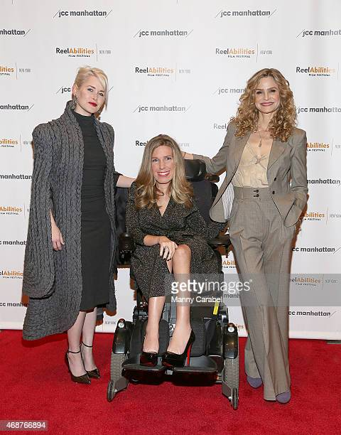 Director Gren Wells Dr Danielle Sheypuk and actress Kyra Sedgwick attend the 'The Road Within' New York Premiere at The JCC on April 6 2015 in New...