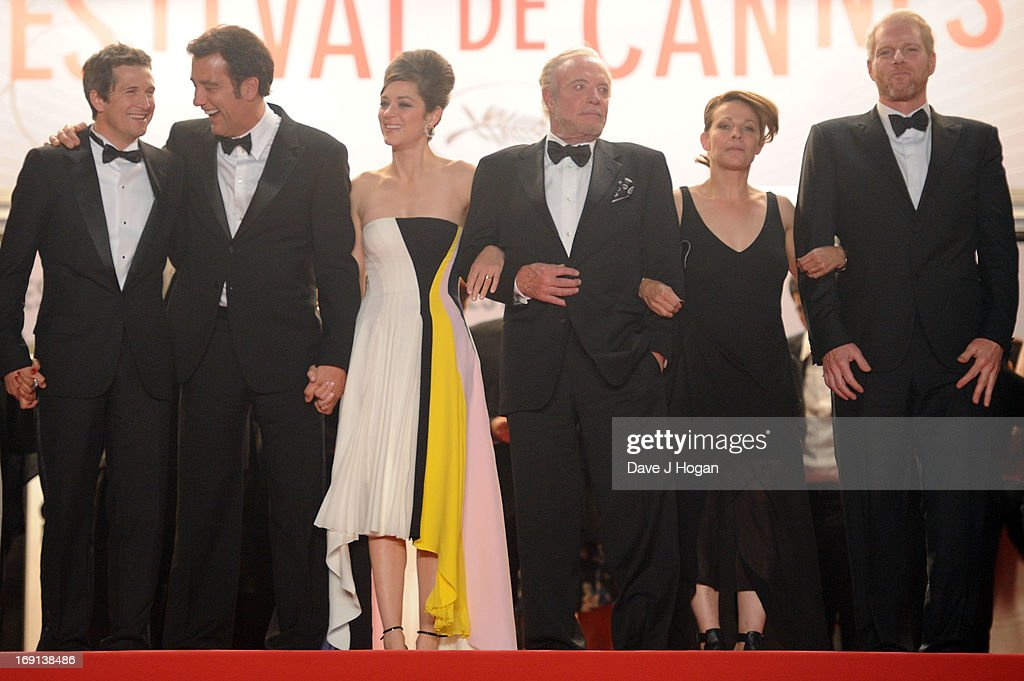 Director Guillaume Canet, actors Clive Owen, Marion Cotillard, James Caan, Lily Taylor and Domenick Lombardozzi attend the 'Blood Ties' Premiere during the 66th Annual Cannes Film Festival at the Palais des Festivals on May 20, 2013 in Cannes, France.