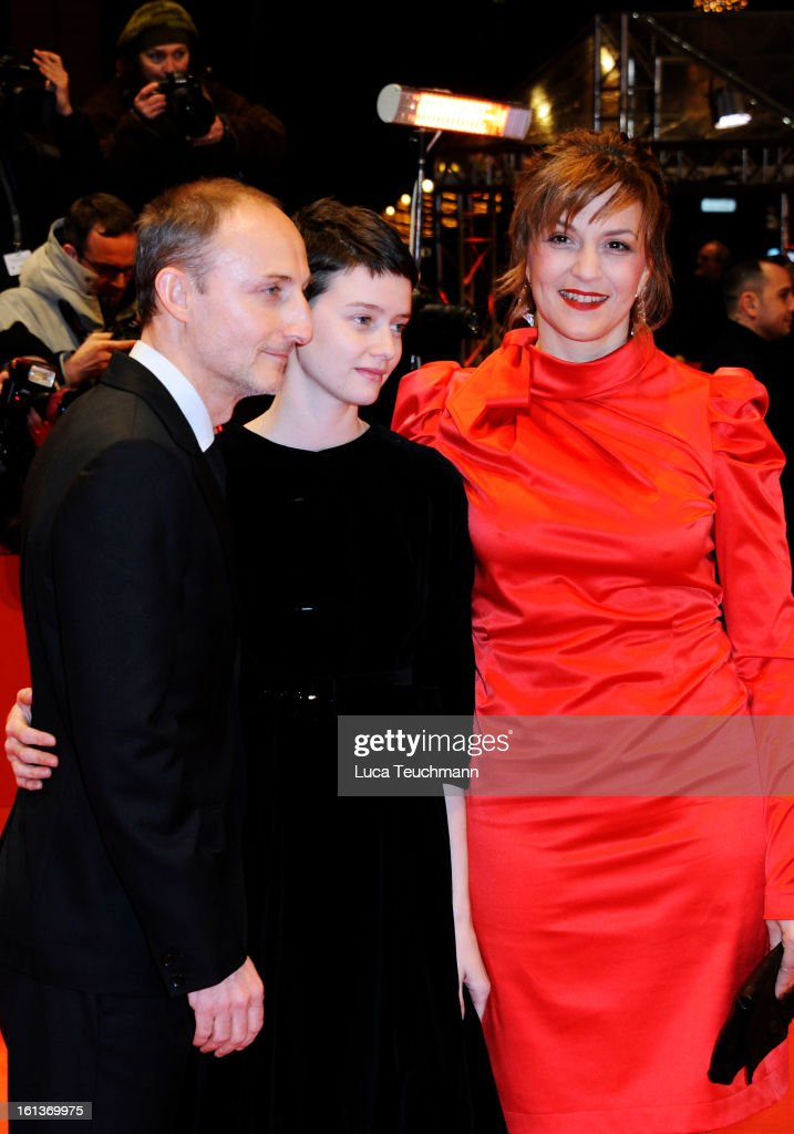 Director Guillaume Nicloux and actresses <a gi-track='captionPersonalityLinkClicked' href=/galleries/search?phrase=Pauline+Etienne&family=editorial&specificpeople=6128830 ng-click='$event.stopPropagation()'>Pauline Etienne</a> and <a gi-track='captionPersonalityLinkClicked' href=/galleries/search?phrase=Martina+Gedeck&family=editorial&specificpeople=621042 ng-click='$event.stopPropagation()'>Martina Gedeck</a> attend 'The Nun' Premiere during the 63rd Berlinale International Film Festival at Berlinale Palast on February 10, 2013 in Berlin, Germany.