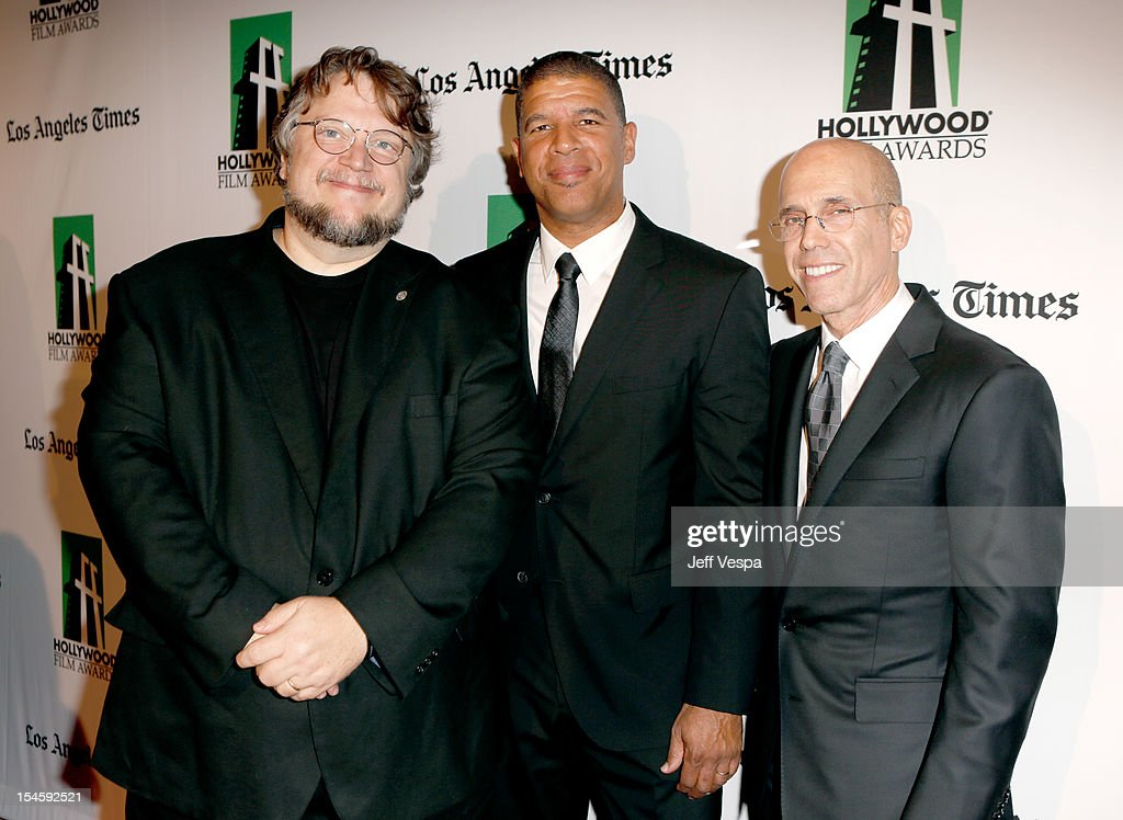 Director Guillermo del Toro, Illustrator Peter Ramsey and CEO of DreamWorks Animation Jeffrey Katzenberg arrive at the 16th Annual Hollywood Film Awards Gala presented by The Los Angeles Times held at The Beverly Hilton Hotel on October 22, 2012 in Beverly Hills, California.