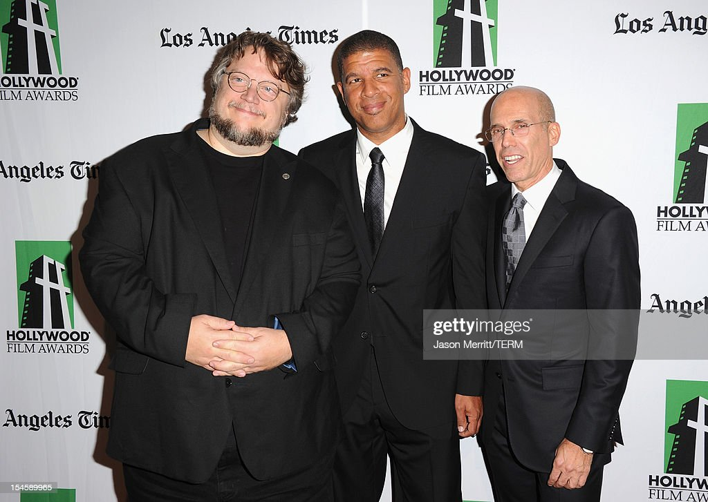 Director Guillermo del Toro, Illustrator Peter Ramsey and DreamWorks Animation CEO Jeffrey Katzenberg arrive at the 16th Annual Hollywood Film Awards Gala presented by The Los Angeles Times held at The Beverly Hilton Hotel on October 22, 2012 in Beverly Hills, California.