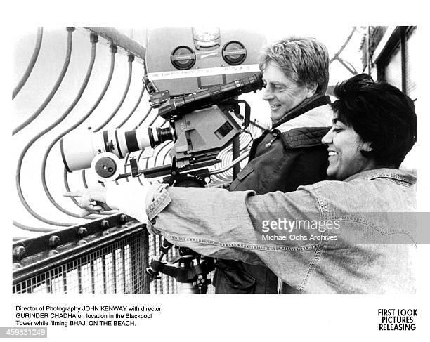 Director Gurinder Chadha and cinematographer John Kenway on set of the movie 'Bhaji on the Beach ' circa 1993