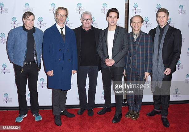 Director Gus Van Sant actor Guy Pearce activist Cleve Jones actor Austin McKenzie executive producer Bruce Cohen and writer Lance Black attend the...