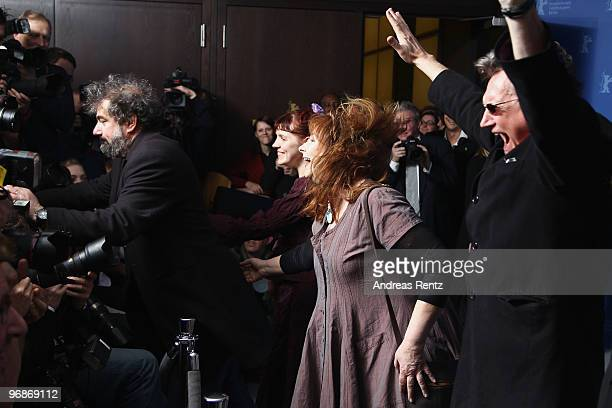 Director Gustave de Kervern actress Miss Ming actress Yolande Moreau and director Benoit Delepine attend the 'Mammuth' Photocall during day nine of...