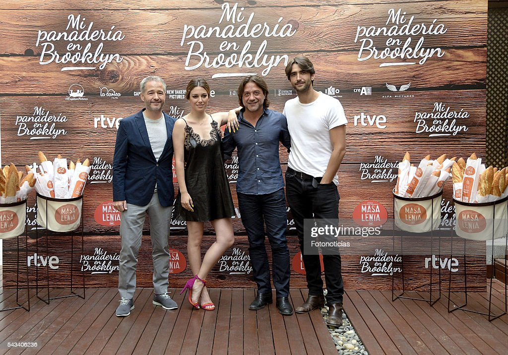 Director Gustavo Ron and actors Enrique Arce, <a gi-track='captionPersonalityLinkClicked' href=/galleries/search?phrase=Blanca+Suarez&family=editorial&specificpeople=4708287 ng-click='$event.stopPropagation()'>Blanca Suarez</a> and Aitor Luna attend a photocall for 'Mi Panaderia de Brooklyn' at the Hospes Hotel on June 28, 2016 in Madrid, Spain.