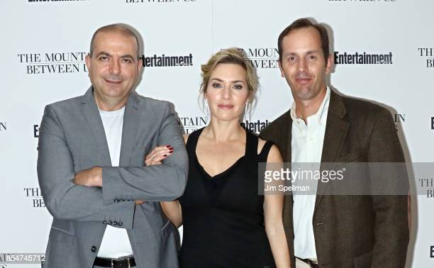 Director Hany AbuAssad actress Kate Winslet and senior editor at Entertainment Weekly Jeff Labrecque attend the 'The Mountain Between Us' special...