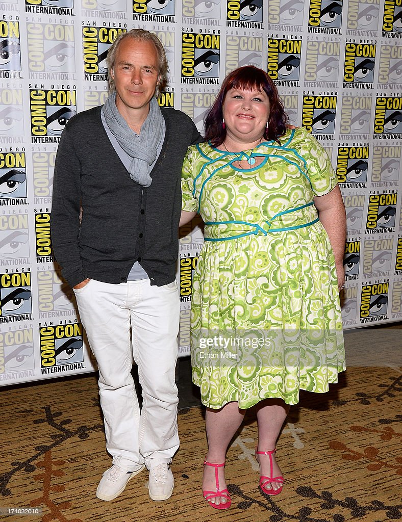 Director Harald Zwart (L) and author Cassandra Clare attend 'The Mortal Instruments: City of Bones' press line during Comic-Con International 2013 at the Hilton San Diego Bayfront Hotel on July 19, 2013 in San Diego, California.