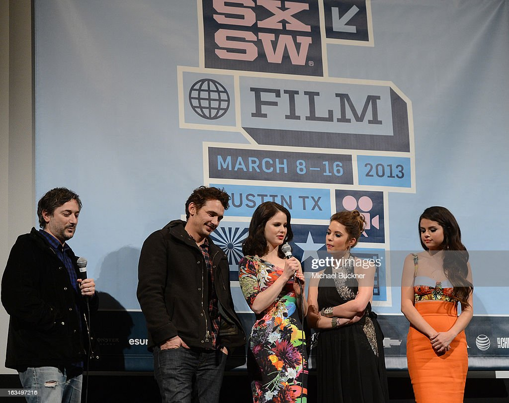 Director Harmony Korine, actor James Franco, actress Rachel Korine, actress Ashley Benson and actress Selena Gomez speak at the Q & A for 'Spring Breakers' during the 2013 SXSW Music, Film + Interactive at the Paramount Theatre on March 10, 2013 in Austin, Texas.