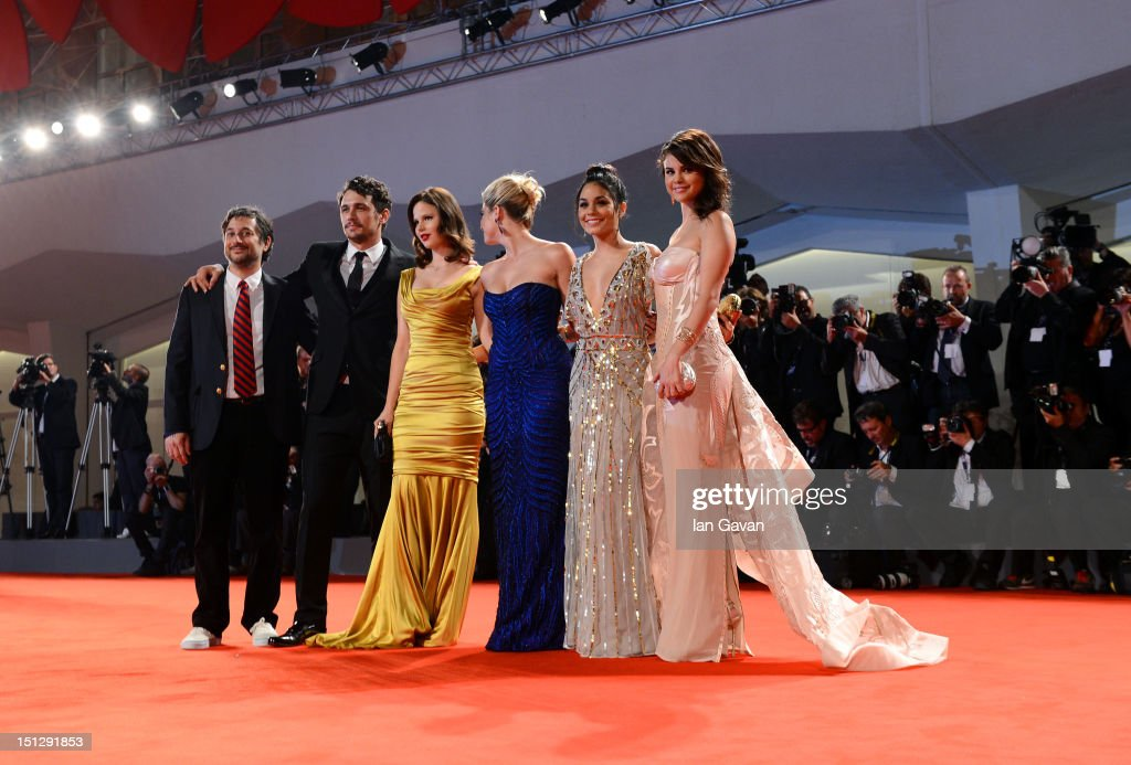 Director Harmony Korine and actors James Franco, Rachel Korine, Ashley Benson, Vanessa Hudgens, Selena Gomez attend the 'Spring Breakers' Premiere during The 69th Venice Film Festival at the Palazzo del Cinema on September 5, 2012 in Venice, Italy.