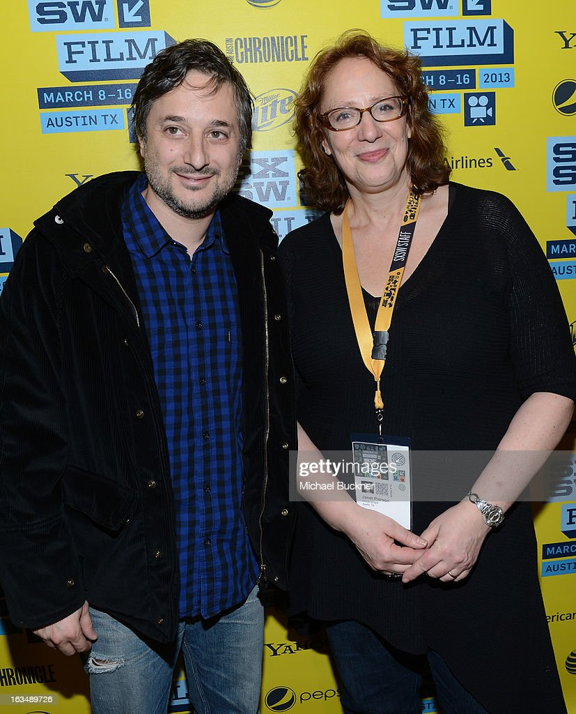 Director <a gi-track='captionPersonalityLinkClicked' href=/galleries/search?phrase=Harmony+Korine&family=editorial&specificpeople=2613576 ng-click='$event.stopPropagation()'>Harmony Korine</a> (L) and Janet Pierson, producer SXSW Film Festival, attend the green room for 'Spring Breakers' during the 2013 SXSW Music, Film + Interactive Festival' at the Paramount Theatre on March 10, 2013 in Austin, Texas.