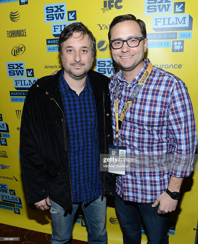 Director <a gi-track='captionPersonalityLinkClicked' href=/galleries/search?phrase=Harmony+Korine&family=editorial&specificpeople=2613576 ng-click='$event.stopPropagation()'>Harmony Korine</a> (L) and Senior Programmer of SXSW Jarod Neece attend the green room for 'Spring Breakers' during the 2013 SXSW Music, Film + Interactive Festival' at the Paramount Theatre on March 10, 2013 in Austin, Texas.