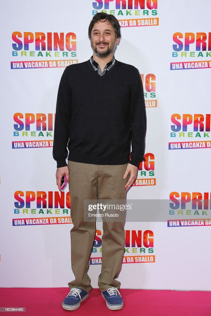 Director <a gi-track='captionPersonalityLinkClicked' href=/galleries/search?phrase=Harmony+Korine&family=editorial&specificpeople=2613576 ng-click='$event.stopPropagation()'>Harmony Korine</a> attends the 'Spring Breakers' screening at Adiano Cinema on February 22, 2013 in Rome, Italy.