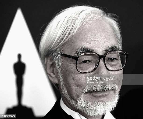 Director Hayao Miyazaki arrives at the Academy Of Motion Picture Arts and Sciences' 2014 Governors Awards at The Ray Dolby Ballroom at Hollywood...