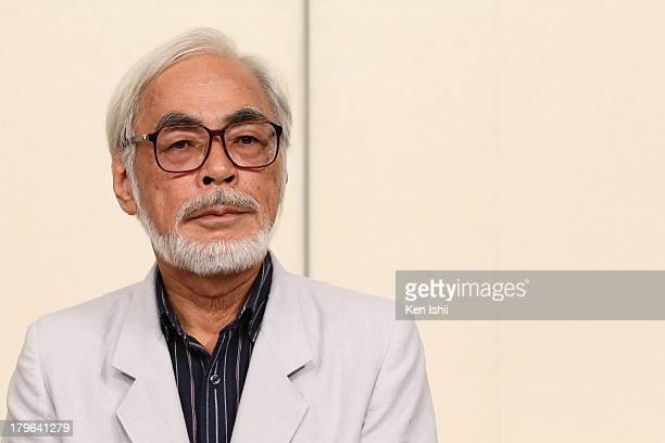 Director Hayao Miyazaki attends a press conference regarding his retirement from active work at Kichijoji on September 6 2013 in Musashino Japan...