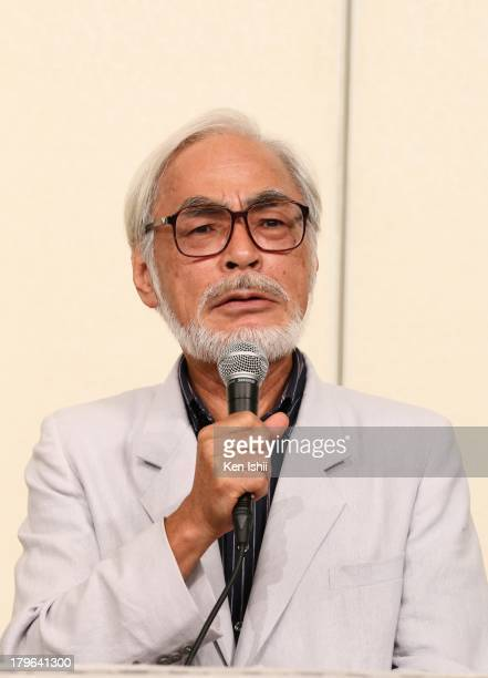 Director Hayao Miyazaki speaks to the media during a press conference regarding his retirement from active work at Kichijoji on September 6 2013 in...