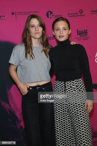 Director Helene Hegemann and actress Jasna Fritzi Bauer attend the AXOLOT Overkill premiere at Volksbuehne am RosaLuxemburgPlatz on June 21 2017 in...