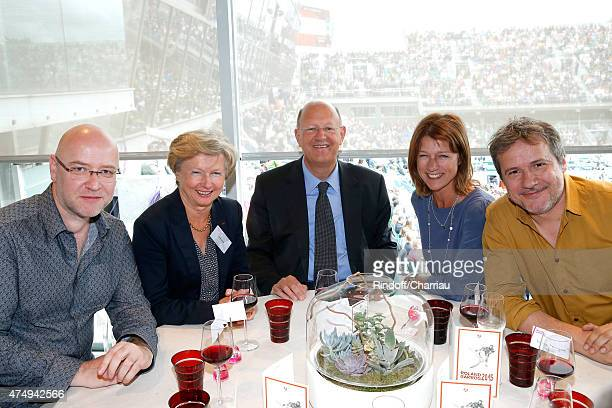 Director Herve Hadmar Chantal Jannet President of France Television Remy Pflimlin Journalist Carole Gaessler and Guest attend the 2015 Roland Garros...