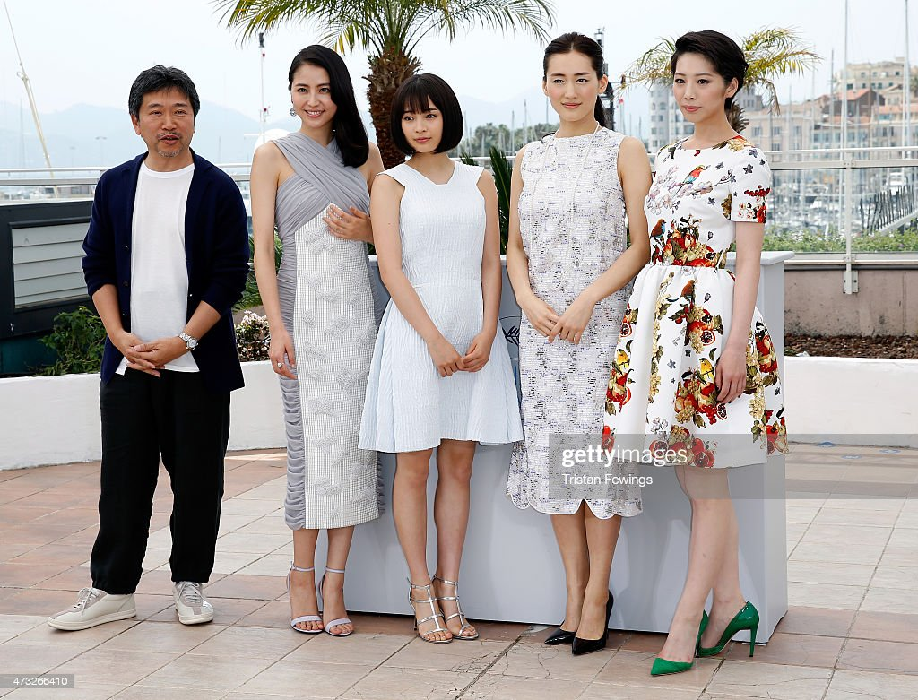 Director Hirokazu Koreeda, actresses Masami Nagasawa, Suzu Hirose, Haruka Ayase and Kaho attend a photocall for 'Umimachi Diary' ('Our Little Sister') during the 68th annual Cannes Film Festival on May 14, 2015 in Cannes, France.