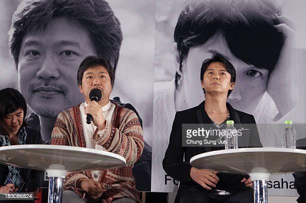 Director Hirokazu KoreEda and actor Masahara Fukuyama attend an open talk during the 18th Busan International Film Festival on October 4 2013 in...