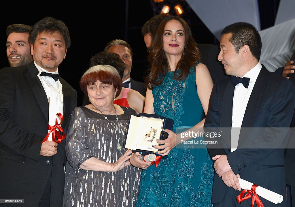 Director Hirokazu Koreeda of Soshite Chichi Ni Naru (Like Father, Like Son), winner of the Prix Du Jury (Jury Prize), <a gi-track='captionPersonalityLinkClicked' href=/galleries/search?phrase=Agnes+Varda&family=editorial&specificpeople=234558 ng-click='$event.stopPropagation()'>Agnes Varda</a>, President of the Camera d'Or jury, actress Berenice Bejo, winner of the Prix d'Interpretation Feminine (Best Performance by and Actress) and <a gi-track='captionPersonalityLinkClicked' href=/galleries/search?phrase=Jia+Zhangke&family=editorial&specificpeople=2522581 ng-click='$event.stopPropagation()'>Jia Zhangke</a> of 'Tian Zhu Ding' ('A Touch of Sin'), winnner of the Prix du Scenario pose during the Closing Ceremony during the 66th Annual Cannes Film Festival at the Palais des Festivals on May 26, 2013 in Cannes, France.