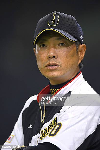 Director Hiroki Kokubo of Japan is seen during the warmup ahead of the international friendly match between Japan and Netherlands at the Tokyo Dome...