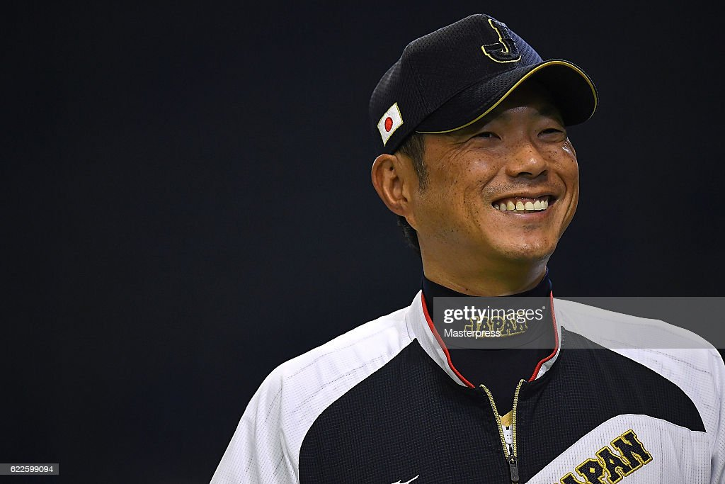 Director Hiroki Kokubo #90 of Japan is seen smiling during the warm-up ahead of the international friendly match between Japan and Netherlands at the Tokyo Dome on November 12, 2016 in Tokyo, Japan.